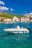 Turquoise Hvar island waterfront view Royalty Free Stock Images