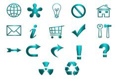 Turquoise Icons Stock Images