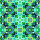 Turquoise kaleidoscope with ornaments in dark color. Seamless texture vector illustration