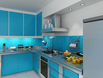 Turquoise kitchen. 3D rendering of a modern spacious kitchen in turquoise and chrome Stock Image