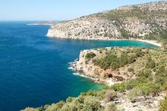 Turquoise lagoon of Aegean Sea. Thassos island, Greece stock photography