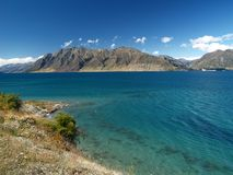 Turquoise lake. In new zealand Royalty Free Stock Photography