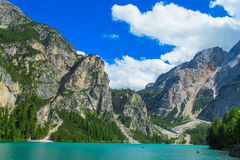 Turquoise lake in the Alps Royalty Free Stock Photos