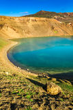 Turquoise lake in the crater of a volcano, Iceland Royalty Free Stock Photography