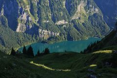 Turquoise lake Klontalersee Royalty Free Stock Photos
