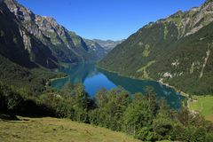 Turquoise lake Klontalersee, view from Schwammhohe Royalty Free Stock Photography