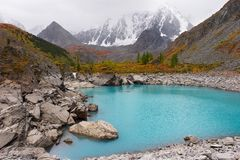 Turquoise lake and mountains. stock photography