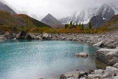 Turquoise lake and mountains. Royalty Free Stock Photos