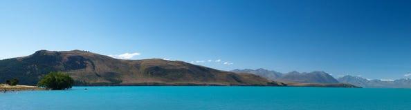 Turquoise lake in new zealand. Turquoise colors of the tekapo lake on new zealand south island Royalty Free Stock Photos