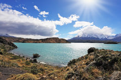 The turquoise lake Pehoe in park Torres del Paine, Chile Royalty Free Stock Photo