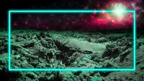 Turquoise laser neon light frame over outer space background with galaxies and stars. Extraterrestrial alien planet. Copy space. For text or product display royalty free illustration