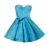 Turquoise leather evase strapless belted dress Stock Photography