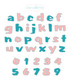 Turquoise and light pink quilt stitch alphabet Royalty Free Stock Images