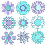 Turquoise and lilac flower Collection Royalty Free Stock Photos
