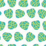 Turquoise and lime irregular shaped dots on a white background. Vector seamless pattern. Great for fabric prints, paper projects, vector illustration