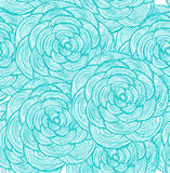 Turquoise linear flowers background Stock Photo