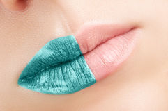Turquoise lips close-up. Stock Photos