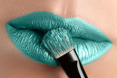 Turquoise lips close-up. Royalty Free Stock Photos