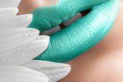 Turquoise lips close-up. Stock Image