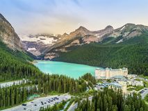 Turquoise Louise Lake in Banff National Park, Alberta, Canada Royalty Free Stock Photos