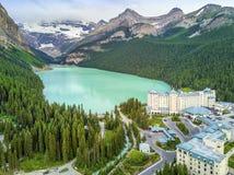 Turquoise Louise Lake en parc national de Banff, Alberta, Canada Images stock