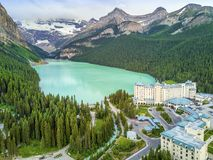 Turquoise Louise Lake in Banff National Park, Alberta, Canada Stock Images