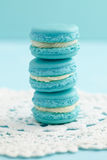 Turquoise macarons with buttercream filling Stock Photos