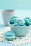 Turquoise macarons with buttercream filling Royalty Free Stock Photo