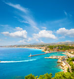 Turquoise mediterranean sea and perfect blue sky. Nice, french r Stock Image