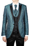 Turquoise mens suit with floral pattern, for wedding or prom Stock Photo