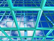 Turquoise grid with sky. Turquoise metallic grid illustration with sky background Stock Photography
