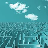 Turquoise maze and sky. Turquoise metallic maze illustration with sky Stock Photography
