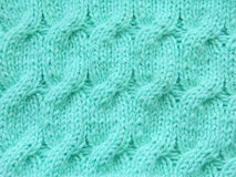 Turquoise, mint pattern knitted Stock Photo