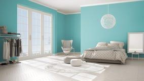 Turquoise moderne colorée et chambre à coucher beige avec le plancher de parquet en bois, la fenêtre panoramique sur le paysage d illustration de vecteur
