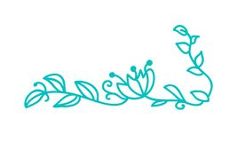 Turquoise monoline scandinavian folk flourish vector with leaves and flowers. Corners and dividers for Valentines Day. Wedding, birthday greeting card royalty free illustration