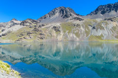 Turquoise mountain lake in Andes Stock Images