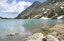 Kuiguk mountain lake, Altai Republic. Turquoise mountain lake, lake in the mountains, green water, pure mountain lake, snow-capped mountains Royalty Free Stock Images