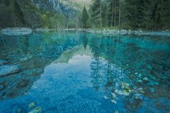 The turquoise mountain lake. A view of famous lake in Val di Mello in the italian alps, details of water with beautiful turquoise colors and reflection in the stock images