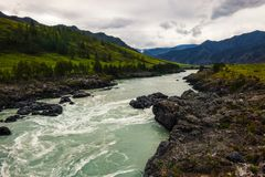 Turquoise mountain rapid river flows between the mountains stock photo