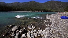 Turquoise mountain river view stock footage