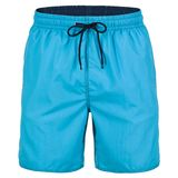Turquoise and navy blue men shorts for swimming. Turquoise and navy blue tied up men shorts for swimming isolated on white background stock photos