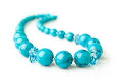 Turquoise necklace close-up Stock Photo