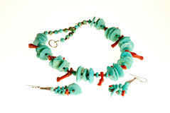 Turquoise Necklace and Earrings Stock Image