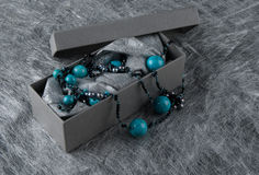 Turquoise  Necklace on Silver Background Royalty Free Stock Photography