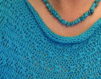 Turquoise Nugget Necklace, Turquoise Knit Top royalty free stock photo
