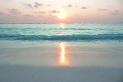 Turquoise ocean in sunrise. At tropical island Agatti , India Royalty Free Stock Images