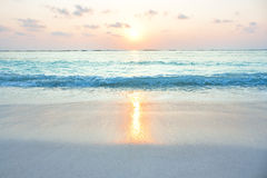 Turquoise ocean in sunrise at tropical island. Agatti , India Stock Images