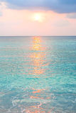 Turquoise ocean in sunrise at tropical island Royalty Free Stock Image
