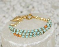 Turquoise and Orange Stone Bracelet Stock Photos