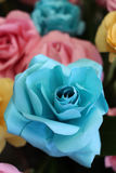 Turquoise Origami Rose Made of Paper Stock Image